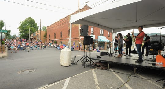 The Caroline Keller Band performs on July 18 for the first of three Park Rhythms concerts to be held in downtown Black Mountain this summer.