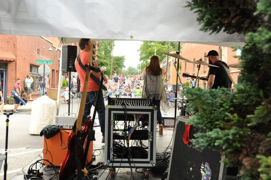 The Caroline Keller Band performs on Sutton Avenue on July 18, as Park Rhythms is held for the first time in downtown Black Mountain.