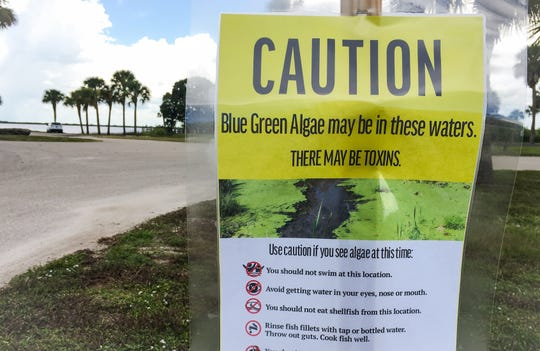 A sign cautions people at Lake Washington that blue green algae may be in the water.