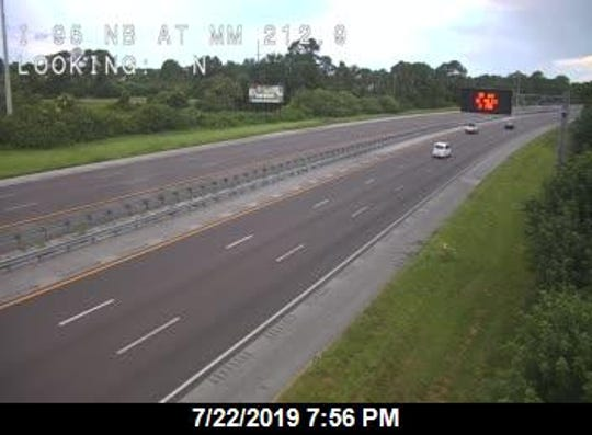 A traffic camera shows I-95 north at Exit 212 SR-407,  where a brush fire was reported