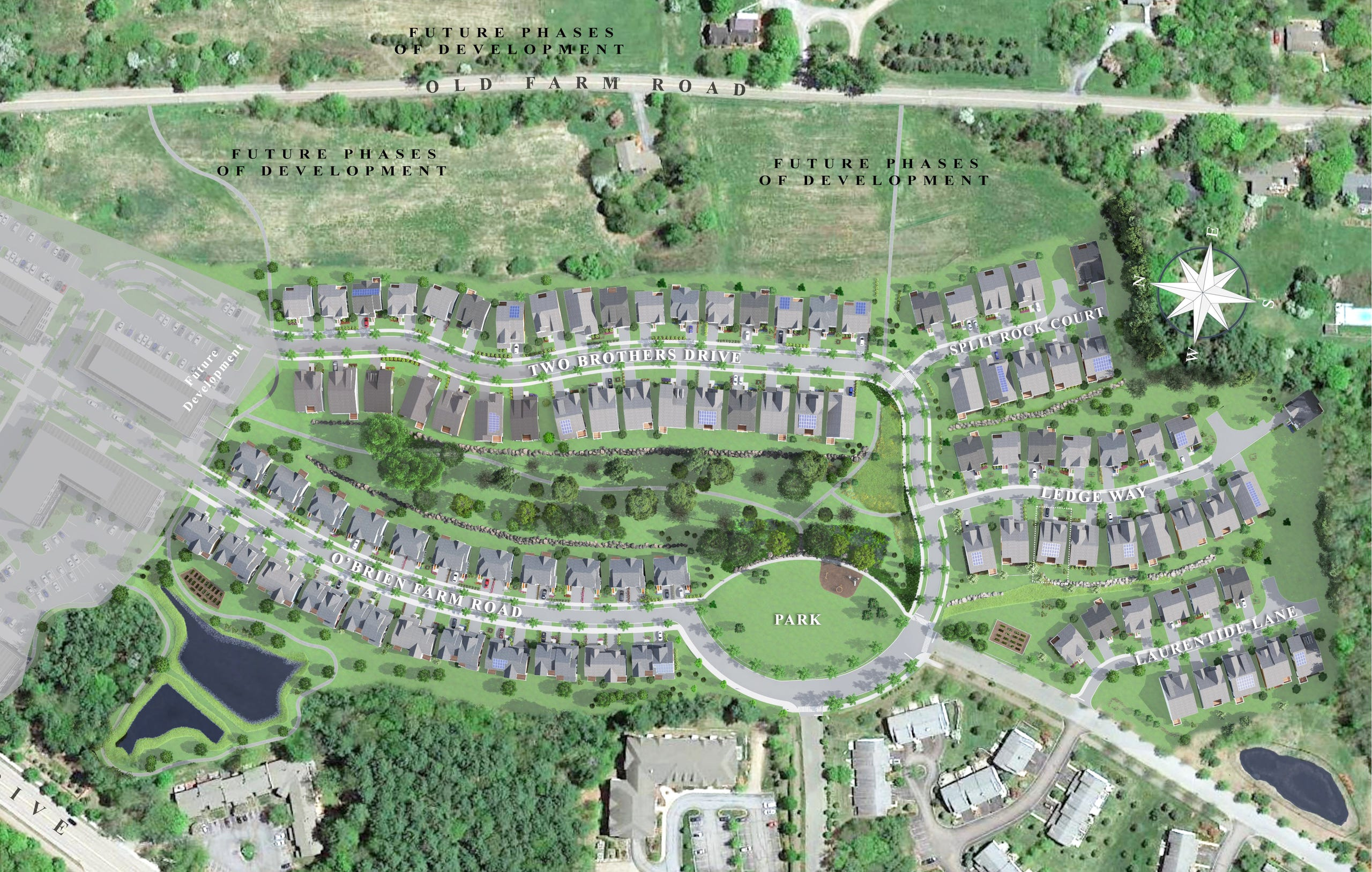 A site map for Hillside at the O'Brien Farm, a housing development under construction in South Burlington. Future phases of building are planned for parcels at the left and top of this image created for O'Brien Brothers, the development firm.