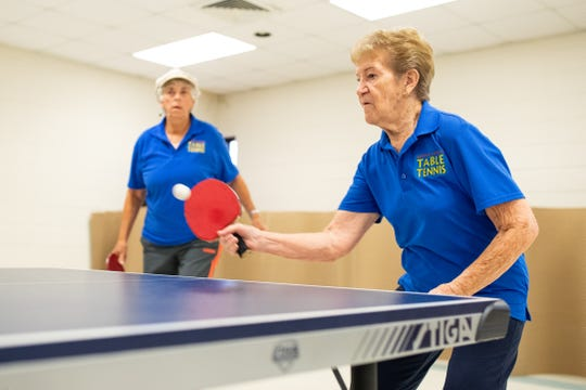 Doris Schultz is 86-years-old who won the national championship in her age range in table tennis practices with a group of seniors at the Ethel Eyerly Senior Center on Friday, July 19, 2019.