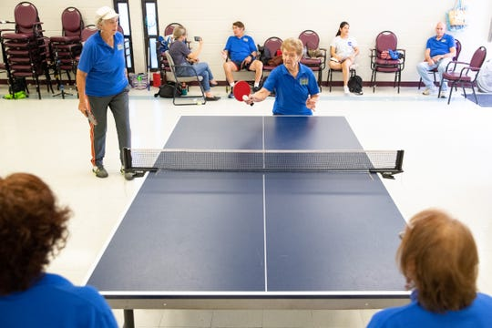 Doris Schultz is 86-years-old who won the national championship in her age range in table tennis plays a round of doubles with partner Suzan Torrance, 69-years-old, at the Ethel Eyerly Senior Center on Friday, July 19, 2019.