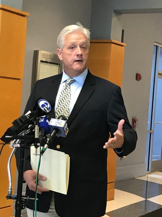 John Hanson, Delaware River Port Authority chief executive officer answers questions at a press conference Monday about a shooting of  masked juvenile after a crash on the Walt Whitman Bridge by bridge police.