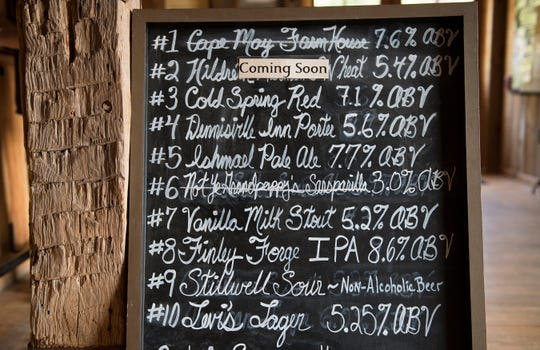 A beer list is displayed in Cold Spring Brewery located in Lower Township, NJ.