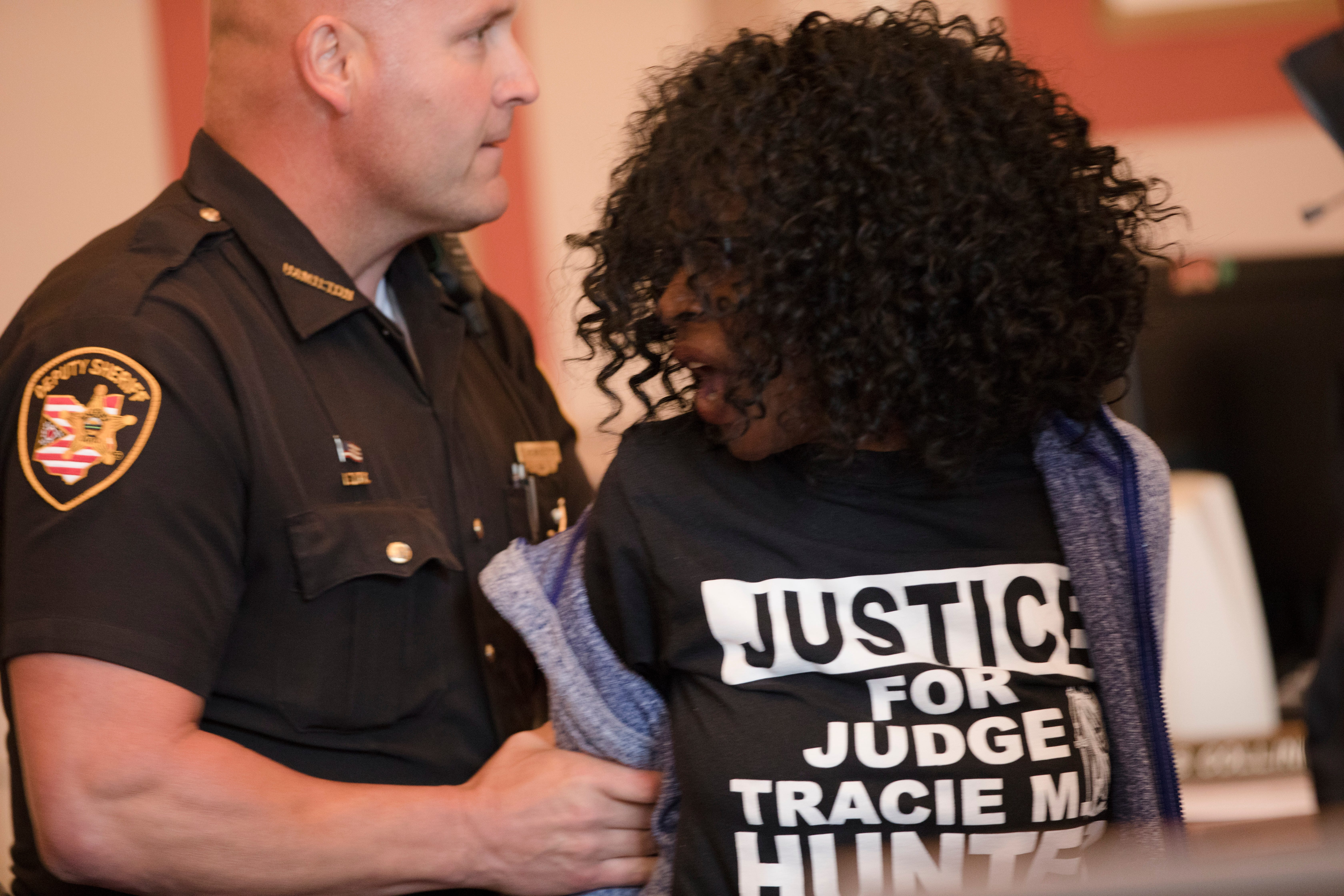 video  chaos erupts in courtroom in protest of tracie