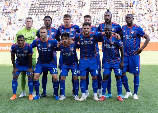FC Cincinnati's starting eleven is seen prior to the first half of the MLS soccer match between FC Cincinnati and New England Revolution on Sunday, July 21, 2019 in Cincinnati.