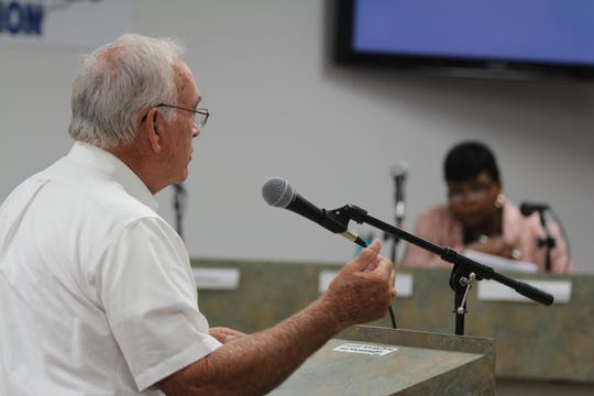 Structural engineer Wally Crow speaks to the Clarksville/Montgomery County Historic Zoning Commission about the old Methodist Church at their meeting on July 22, 2019.