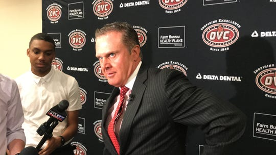 First-year Austin Peay coach Mark Hudspeth talks during OVC Media Day on Monday in Nashville.