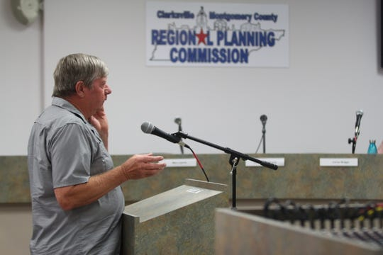 The new owner of the old Methodist Church, Ed White, speaks to the Clarksville/Montgomery County Historic Zoning Commission about his request for demolition at their meeting on July 22, 2019.