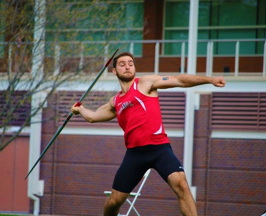 Jack Gustafson throws javelin for Grinnell. His family and friends are riding RAGBRAI in his memory after he died due to a medical accident while on study abroad in Germany.
