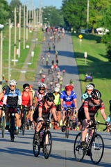 Riders pull out of Atlantic, IA on the second day of RAGBRAI on Monday July 22, 2019 in Atlantic, IA