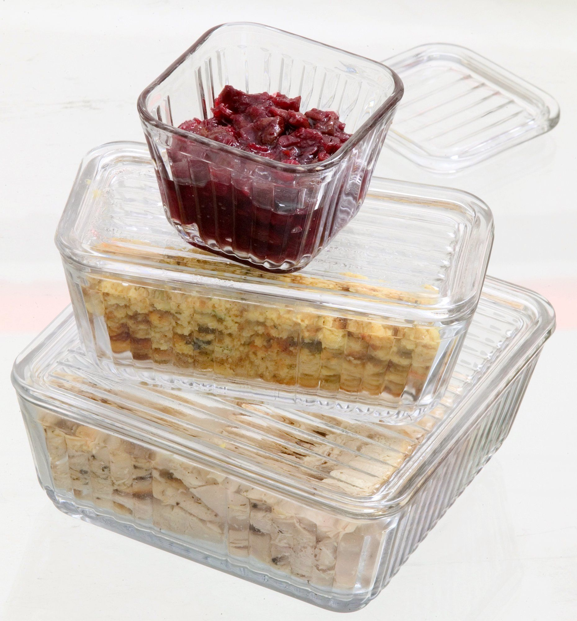 Clear glass containers help you keep an eye on turkey day leftovers while they're hanging out in the refrigerator. (lj) 2005