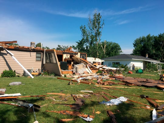 A storm caused significant damage to a Jenison, Mich., neighborhood on Saturday, July 20, 2019, tearing the roof and some walls off one home. Consumers Energy said the community was hit hard by the storms.