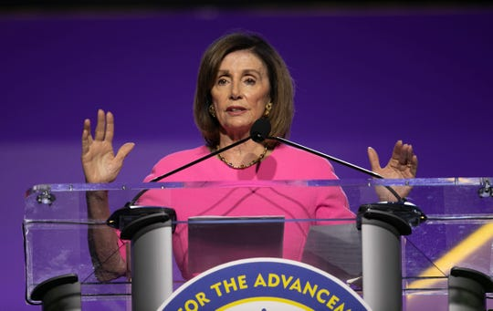 U.S. Speaker of the House Nancy Pelosi, speaks during the National Association for the Advancement of Colored People (NAACP) 110th Annual Convention at Cobo Center in Detroit Monday, July 22, 2019.