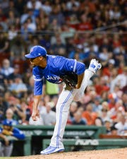 Edwin Jackson pitches for the Toronto Blue Jays against the Boston Red Sox at Fenway Park on July 15, 2019.