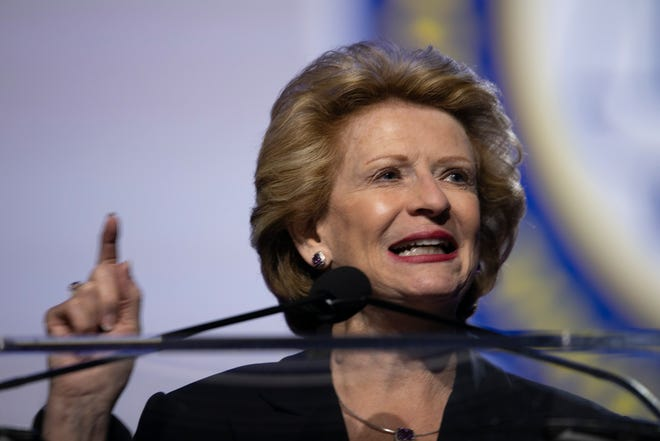 Michigan Senator Debbie Stabenow, speaks during the National Association for the Advancement of Colored People (NAACP) 110th Annual Convention at Cobo Center in Detroit Monday, July 22, 2019.