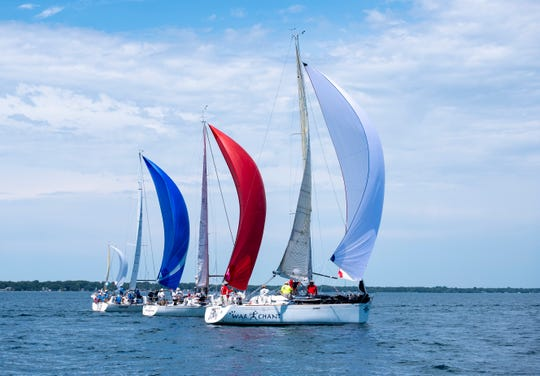 From left, the Blackhawk, Time Machine and War Chant compete in the 2019 Bell's Beer Bayview Mackinac Race Saturday, July 20, 2019, on Lake Huron.