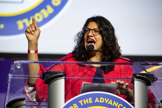 U.S. Rep. Rashida Tlaib D-Detroit, speaks during the National Association for the Advancement of Colored People (NAACP) 110th Annual Convention at Cobo Center in Detroit Monday, July 22, 2019.