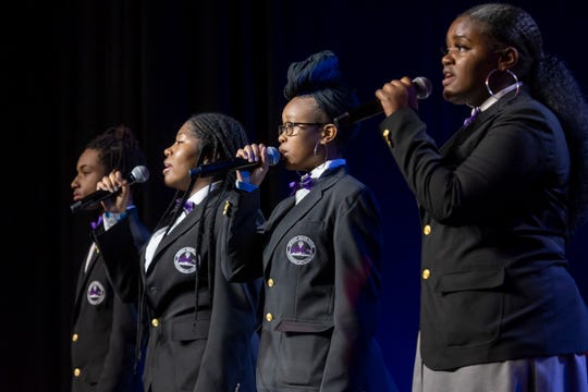 The Detroit Youth Choir performs during the 110th NAACP Annual Convention at Cobo Center in Detroit.