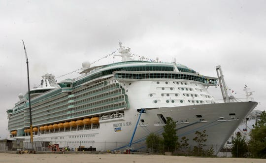 This May 11, 2006 file photo shows the Freedom of the Seas cruise ship docked in Bayonne, N.J.