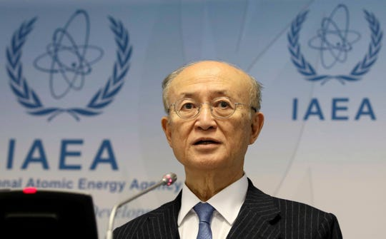 In this Nov. 22, 2018, file photo, International Atomic Energy Agency (IAEA) Director General Yukiya Amano of Japan addresses the media.