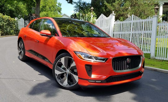 The 2019 Jaguar I-Pace EV bears familiar brand touches like angled headlights and open grille.
