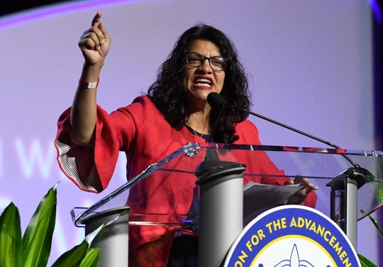 U.S. Rep. Rashida Tlaib (D-Detroit) speaks Monday at the NAACP convention in Detroit.