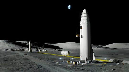 This artist's rendering made available by Elon Musk on Friday, Sept. 29, 2017 shows SpaceX's mega-rocket design on the Earth's moon.