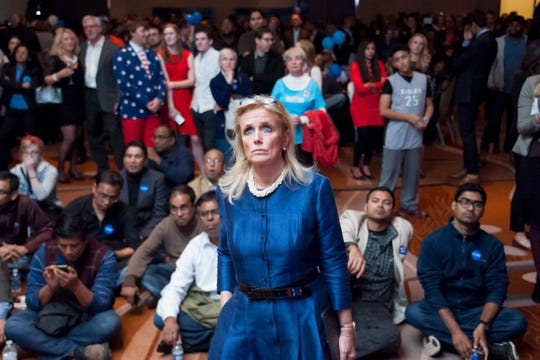 U.S. Rep. Debbie Dingell (D-Dearborn) watches election results with the public at the Democratic party election night event at the MGM Grand casino in Detroit on  November 8, 2016.