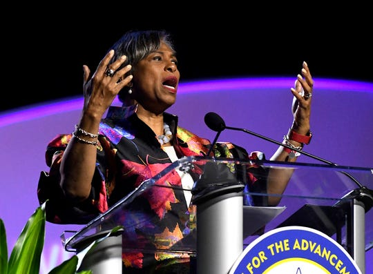 U.S. Rep. Brenda Lawrence (D-Southfield) speaks at the 2019 NAACP convention in Detroit, Monday.