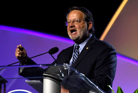 U.S. Sen. Gary Peters speaks at the 2019 NAACP convention in Detroit, Monday.