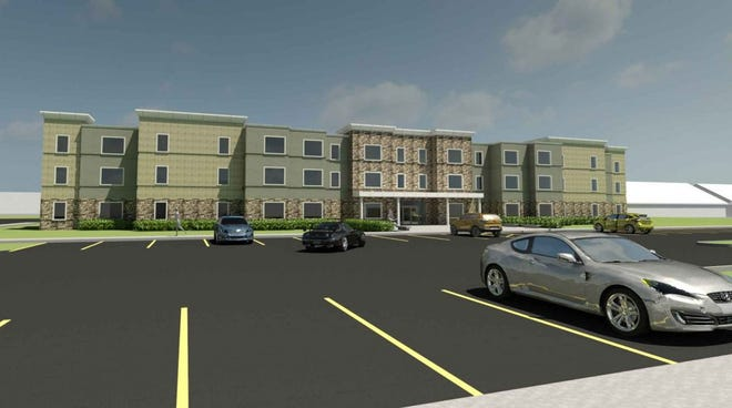 A rendering of the new affordable housing development planned at the site of Erie Homes, which was razed in 2008 at Lincoln Avenue and Southeast Tenth Street.