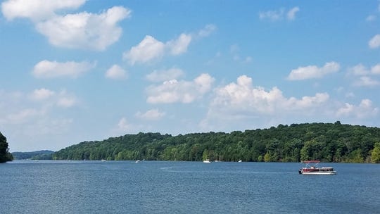 Boaters enjoy the sun on Patoka Lake, Saturday, July 20, 2019