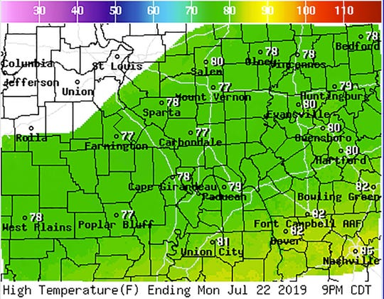 High temperature map for Monday, July 21 from the National Weather Service in Paducah.