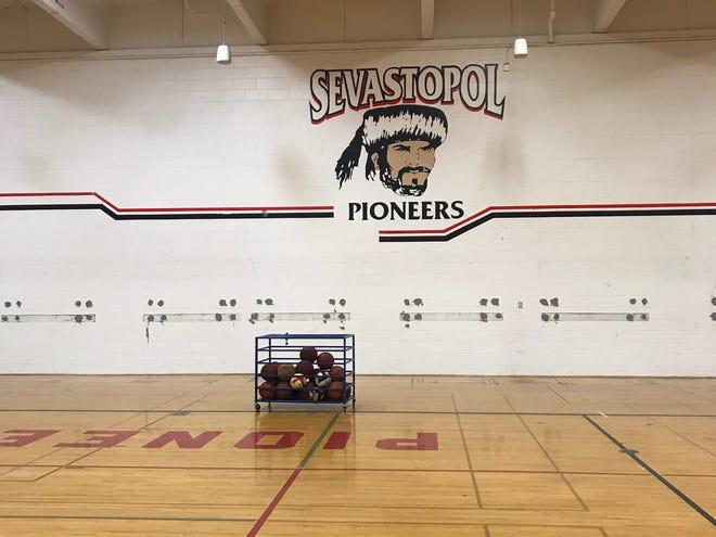 Sevastopol's bleacher-less high school gym, part of this summer's renovations.