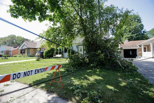 The 1100 block of Oregon Street has been closed off since a tree took down multiple power-lines during a storm that ripped through the area over the weekend.
