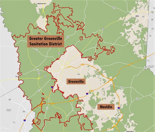 The Greater Greenville Sanitation District, shown here within the red lines, will raise its taxes and fees on customers in the coming year. The average homeowner with a house worth $104,000 is looking at paying an additional $66 a year in taxes and fees.