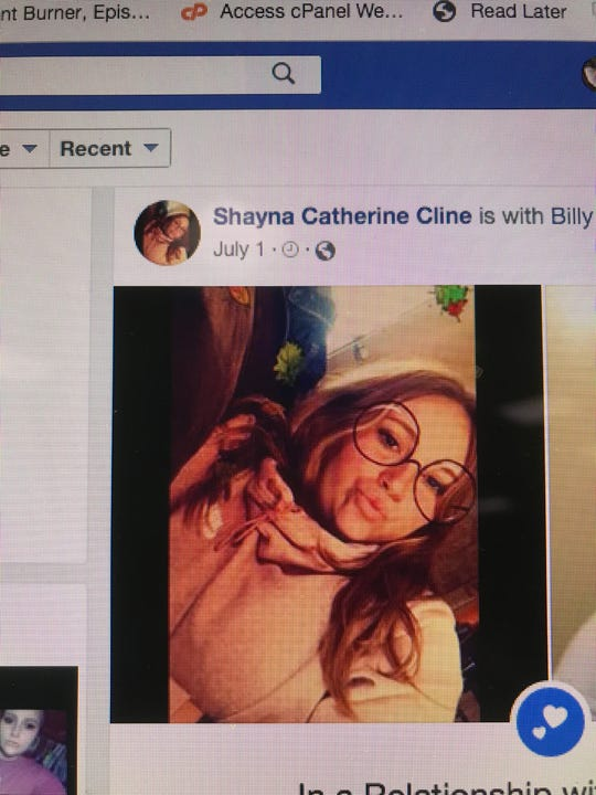 A photo of a computer screen showing a photo of Shayna Cline on Facebook.