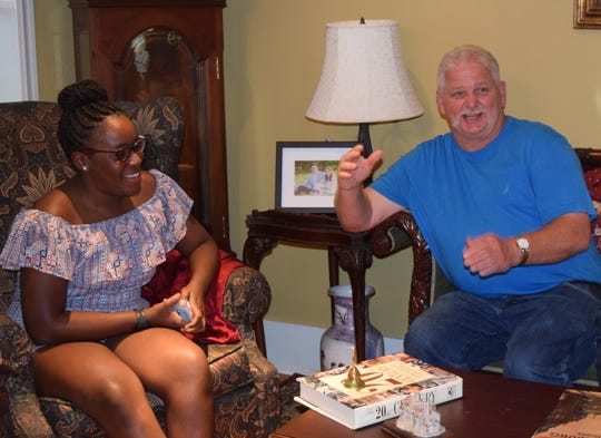 Kara Ffrench of Atlanta and Vic Billingsley of Hattiesburg meet for the first time Monday, July 22, 2019, in Hattiesburg. Kara and Billingsley share a liver from the same donor after a transplant in 2007.