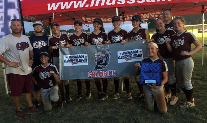 The Lady Otters 05 fast-pitch softball team won the 14U Division A championship of the USSSA Indiana Great Lakes Nationals over the weekend. Team members are, kneeling from left, Jamaya Byrum and Anna Willett, standing coaches Shannon Troutman and Jeremy Byrum, Kendal Hargrove, Jaylee Meadors, Hallie McCracken, Jenna Donohoo, Taylor Troutman, Anna Kemp, Taylor Ash and back, coach Rob McCracken.