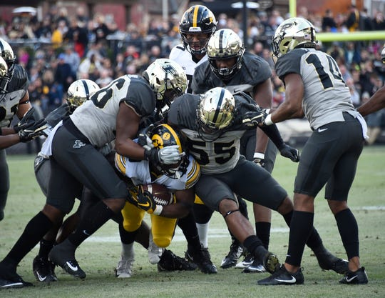 Jeff Brohm-coached Purdue has found a way against Iowa each of the past two seasons. Mekhi Sargent (pictured) and the Hawkeyes have been held to 200 rushing yards on 75 attempts in those two losses.