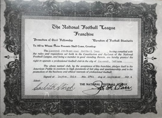 An image ofHammond Pros' NFL franchise charter.