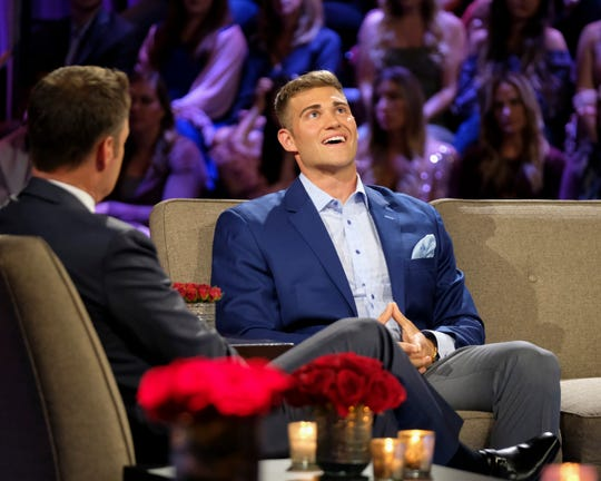 """The Bachelorette"" host Chris Harrison and Luke P talk during the show's ""Men Tell All"" episode that will air on Monday, July 22."