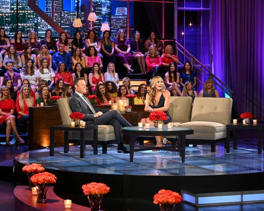 """The Bachelorette"" host Chris Harrison and Hannah Brown talk during the show's ""Men Tell All"" episode that will air on Monday, July 22."