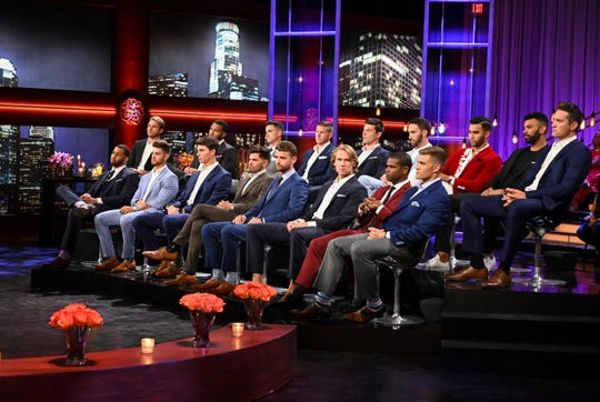 """Contestants from """"The Bachelorette"""" appear on the show's """"Men Tell All"""" episode that aired Monday."""