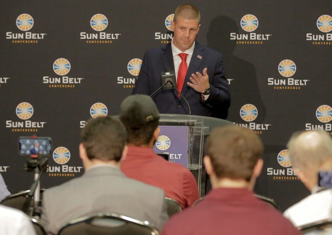 UL football coach Billy Napier speaks Monday at the Sun Belt Conference Football Media Day in New Orleans.