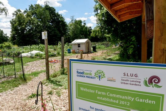 The entrance of south Lansing's Webster Farm Community Garden. It is located at 5518 Hughes Road.