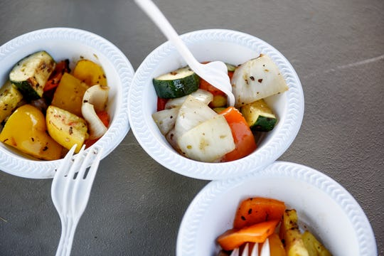 These are grilled vegetables served July 18 at the Riddle Elementary School Garden's community cookout. They were grown in the garden by people who live in the neighborhood on Lansing's west side.