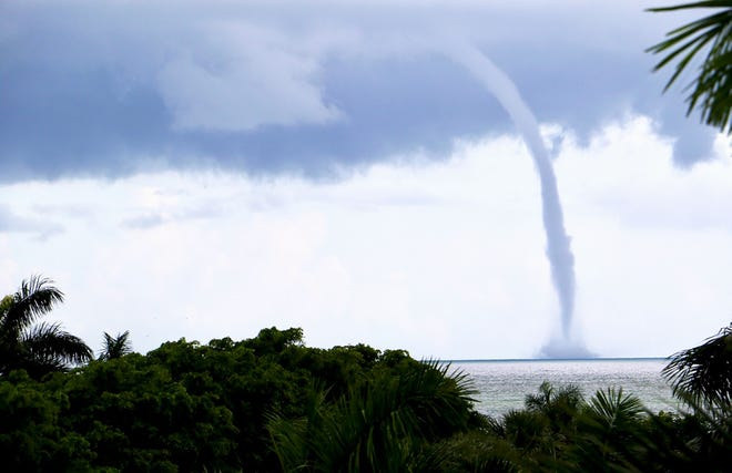 A 6 p.m., Sunday, a special marine warning and a significant weather advisory were in effect from Chokoloskee to Bonita Beach by the National Weather Service/Miami. Sebastian Schuman captured this water spout on Marco Island, one of many photos published on social media Sunday from our beaches.